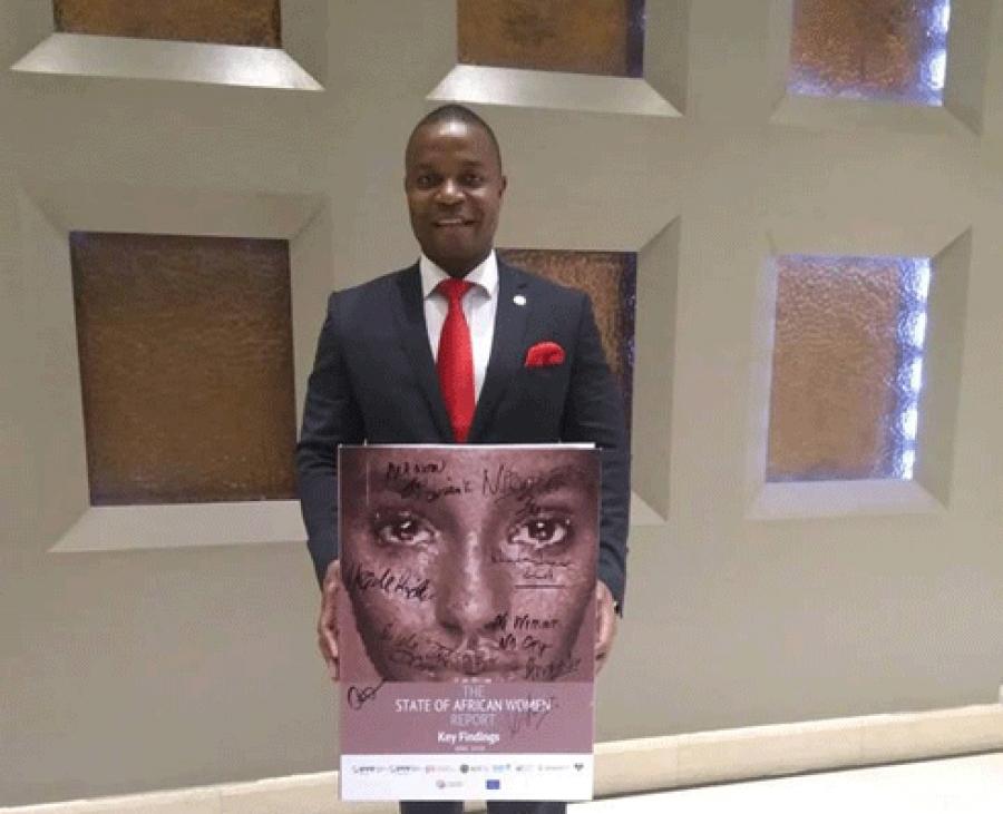 Lu2019honorable Antonio Niquice, pru00e9sident Afrique de la Fu00e9du00e9ration Internationale pour la Planification Familiale (IPPFAR) le lundi  02 juillet 2018 en  Nairobi au Kenya.u00e0 Crowne Plaza lors du lancement officiel du Rapport sur le Statut de la Femme  Africaine.