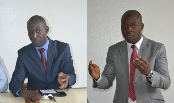 Les candidats u00e0 la pru00e9sidence de l'UNJCI de gauche u00e0 droite: Moussa Traoru00e9 (pru00e9sident sortant) et Vamara Coulibaly (pru00e9tendant au poste de pru00e9sident).
