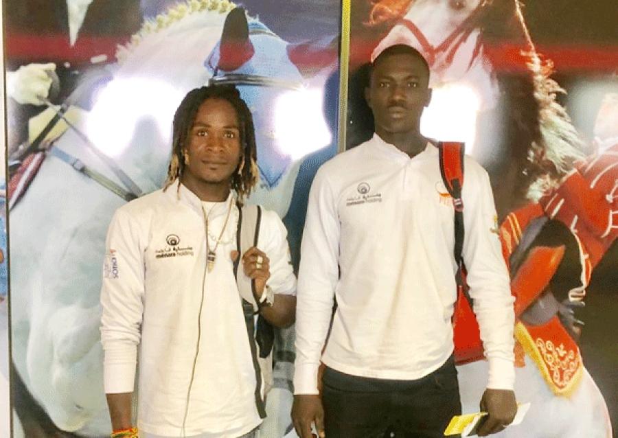 Camara Mahu00e9ly et Abou Traoru00e9 deux des cavaliers en formation au Maroc.