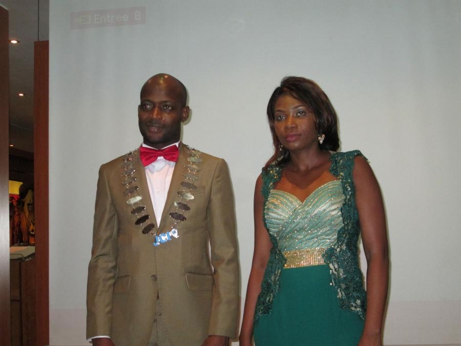Salifou Diakitu00e9, le pru00e9sident sortant en compagnie de Soumahoro Miriam, fraichement u00e9lue