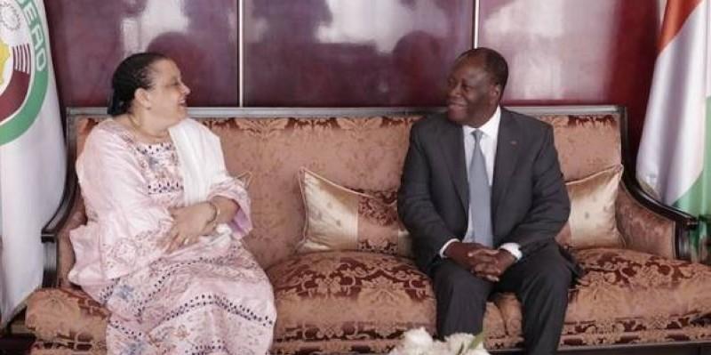 L'Ambassadeur de la République de Guinée en Côte d'Ivoire, S.E.Mme Olga SYRADIN a fait ses adieux au Président Ouattara