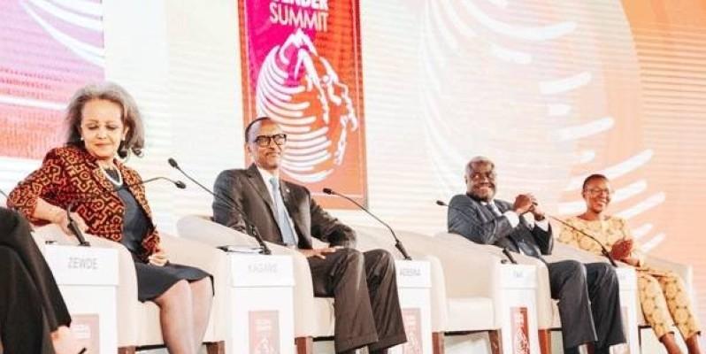 De gauche à droite: la présidente de la République fédérale de l'Ethiopie, Sahle-Work Zewde; le président du Rwanda, Paul Kagamé et le président de la Commission de l'Union africaine, Moussa Faki Mahamat. (GUY ASSANE YAPI)