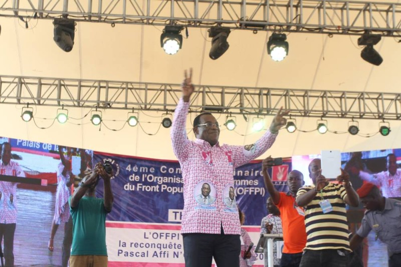 Affi N'Guessan, au cours de l'assemblée générale ordinaire des femmes du Fpi. (Ph: Veronique Dadié)