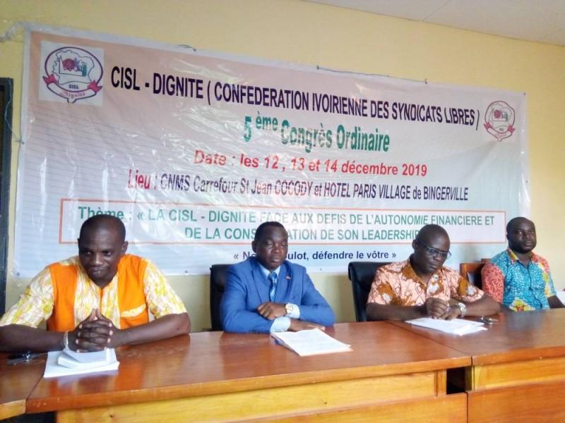 Le secrétaire général de la Centrale syndicale Dignité, Bli Blé David, annonce la tenue d'un congrès en décembre. (Marie-Ange Akpa)