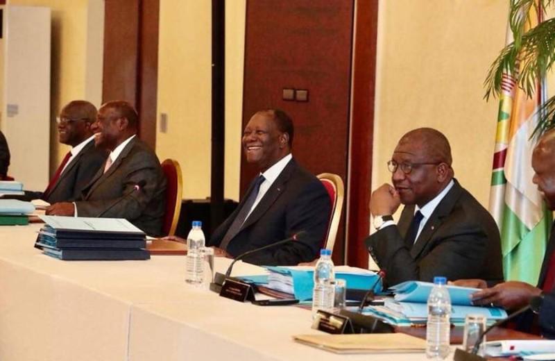 Le Chef de l'Etat, Alassane Ouattara lors du dernier Conseil des ministres de l'année, à Yamoussoukro