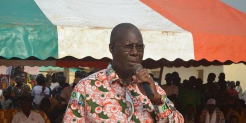 Le ministre Maurice Bandaman, lors de sa tournée à Tiassalé. (Aip)