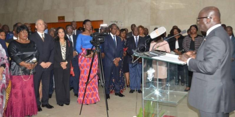 Le ministre des Affaires étrangères, Marcel Amon-Tanoh (au pupitre) a demandé le soutien des diplomates à la candidature de la Côte d'Ivoire. (DR)