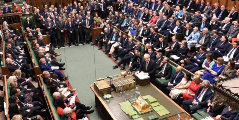 Le Premier ministre britannique Boris Johnson lors d'un débat à la Chambre des communes après le discours de la Reine, à Londres, le 19 décembre 2019.(DR)
