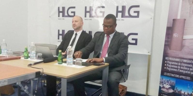 Bastien Trelcat (à gauche), avocat associé gérant et Ouattara Lacina (à droite), responsable commercial. (Marie Ange Akpa)
