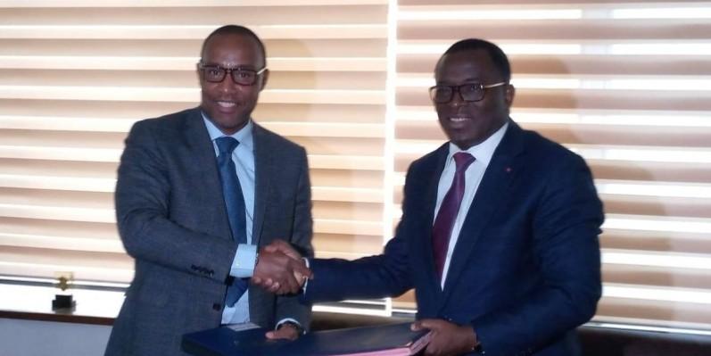 Le président Ouégnin (à gauche) et le ministre des Sports ont affiché leur volonté de faire de la Côte d'Ivoire un pays qui compte dans l'équitation mondiale. (DR)