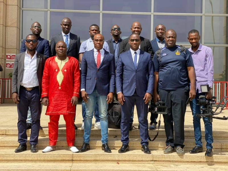 La délégation qui a accompagner à Dakar, le groupe Magic System pour le lancement du Femua 13 à Dakar (DR)