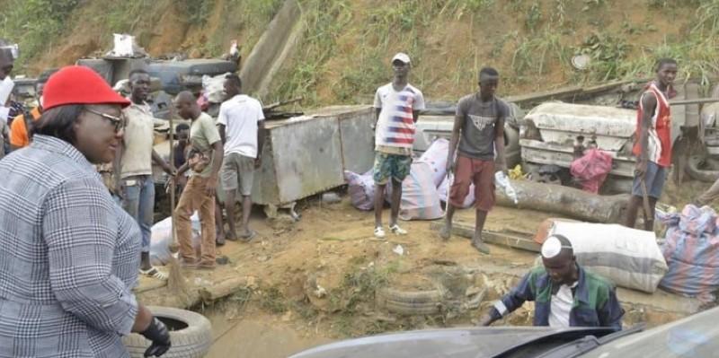 Anne Ouloto a dirigé, elle-même, l'opération d'assainissement du site de l'ex-casse. (Dr)