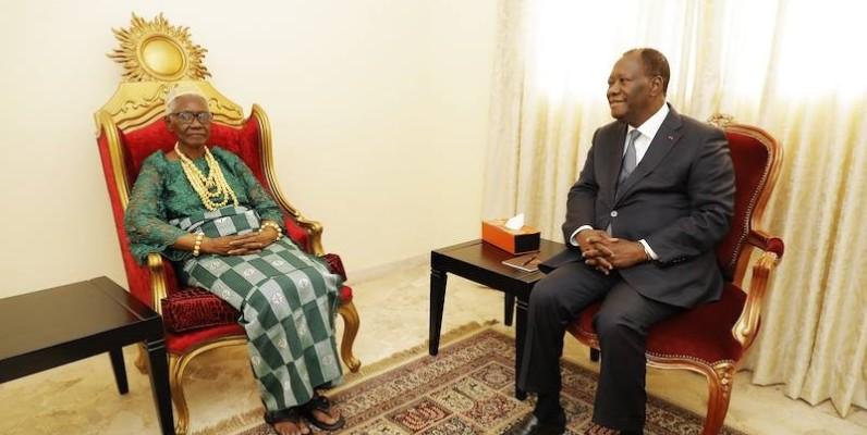 Le Chef de l'Etat, Alassane Ouattara, lors de sa visite à Sakassou. (DR)