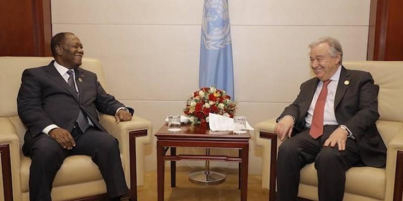 Le Chef de l'État a été reçu, samedi, par Antonio Guterres. (Présidence ivoirienne)