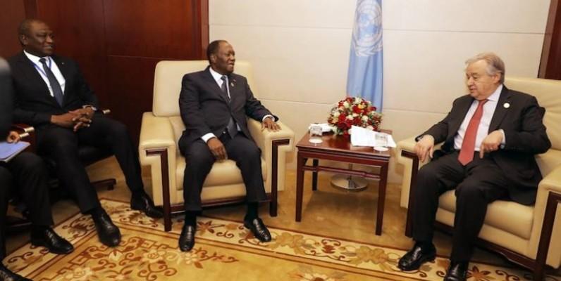 Le Président de la République, Alassane Ouattara en compagnie du secrétaire générale de l'Onu, Antonio Guterres. (DR)