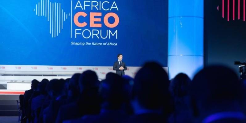 Amir Ben Yahmed, président de l'Africa Ceo Forum, à la tribune. (DR)