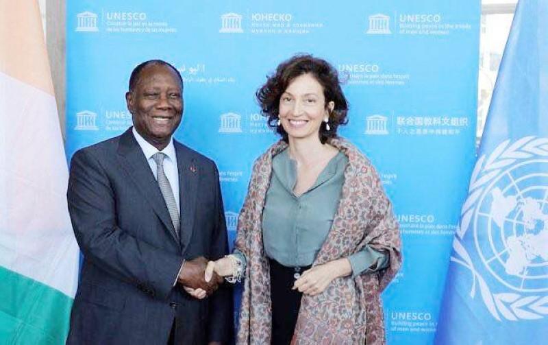 Le président Ouattara et la directrice générale de l'Unesco, Audrey AZOULAY (DR)