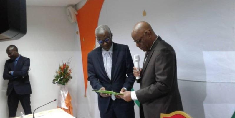 Raphaël Lakpé (à droite) s'est dit heureux de la nomination de Samba Koné à la tête de l'Anp. (DR)