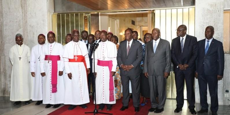 Le clergé conduit par Jean-Pierre Cardinal Kutwa a échangé avec le Président de la République Alassane Ouattara, sur la situation socio-politique et la réconciliation nationale. (Honoré Bosson)