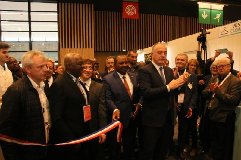 Inauguration du hall des fromages par le ministre Kobénan Adjoumani et son homologue français, Didier Guillaume.
