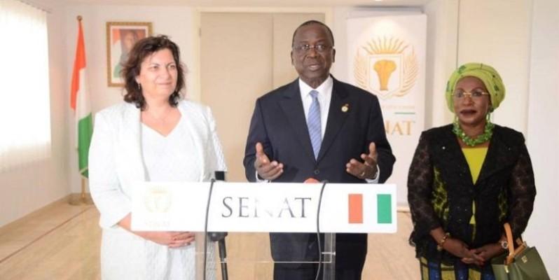 Le président du Sénat, Jeannot Ahoussou-Kouadio (au centre). (DR)