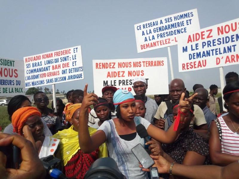 """La manifestation du 22 février 2020 dans la commune de Port Bouët, pour le site baptisé """"Cissé la paix"""", dans la zone d'Anani."""