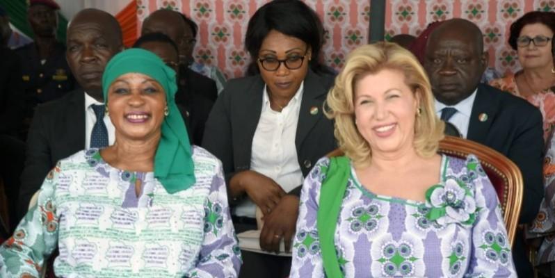 Henriette Konan Bédié et Dominique Ouattara, deux femmes, un objectif commun (cabinet de la première dame). DR)