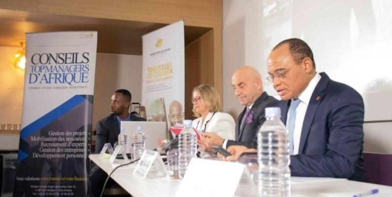 Les responsables du cabinet Conseils Top Managers d'Afrique et ceux de Vaillancourts-Riou, au lancement du programme d'immigration « Canada Emplois Afrique ». (DR)