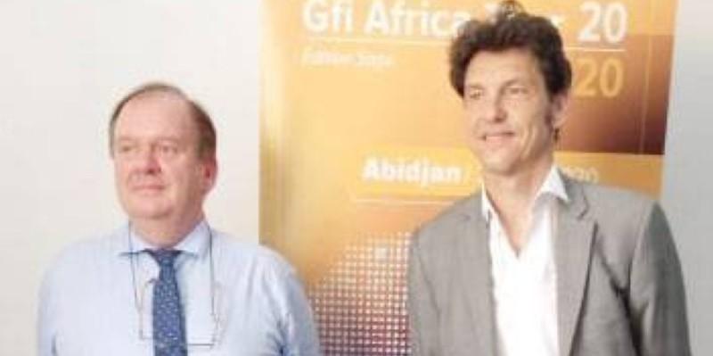 Philippe Cahez, directeur général de Gfi Côte d'Ivoire, et Franck Hourdin, en charge des Moyennes et grandes entreprises en France et à l'International chez Sage. (DR)
