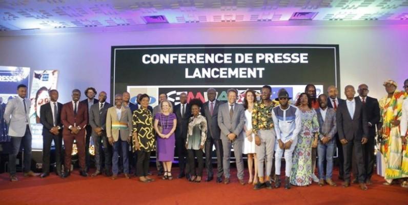 Photo de famille après la conférence de presse de lancement du FEMUA 13. (DR)