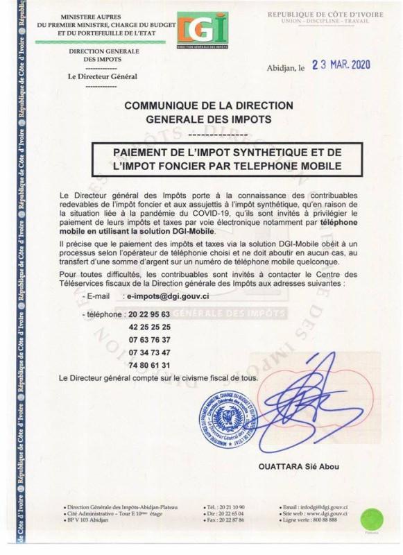 Le communiqué de la DGI. (DR)