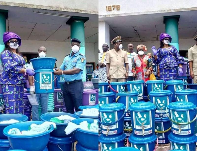 Célestine Trazéré a fait fort avec le don d'équipements et de kits dédiés à la lutte contre le Coronavirus d'un coût de plus de 10 millions F cfa (DR)