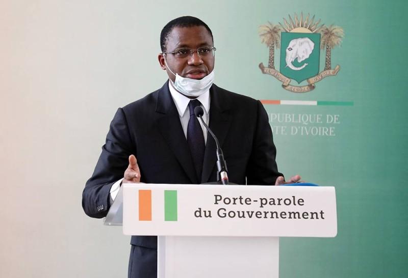 Sidi Tiémoko Touré, ministre de la Communication et des Médias, porte-parole du gouvernement. (Honoré Bosson)