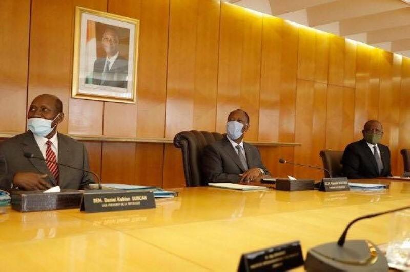 Le Président de la République, Alassane Ouattara lors du Conseil des ministres (DR)