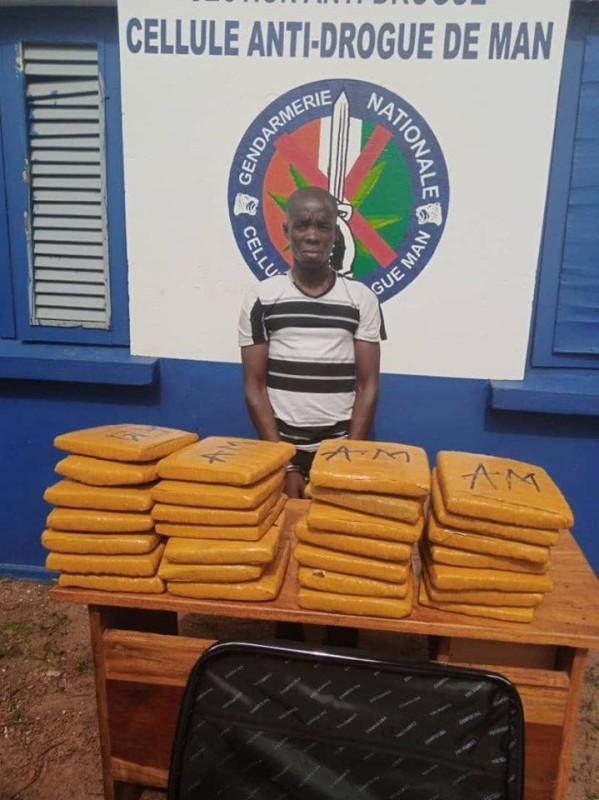 Le dealer a été appréhendé tôt ce matin, par la Cellule Anti-drogue de la Gendarmerie de MAN