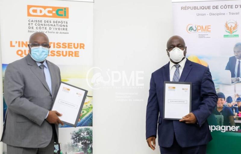 Les Dg de l'Agence CI Pme, Salimou Bamba, et de la Cdc-Ci, Lassina Fofana veulent offrir aux Pme ivoiriennes des mécanismes de financement.