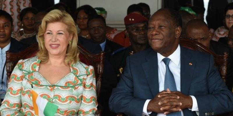 Le Président Ouattara aux côtés de son épouse Dominique Ouattara, lors de la Journée internationale de la Femme. (Dr)