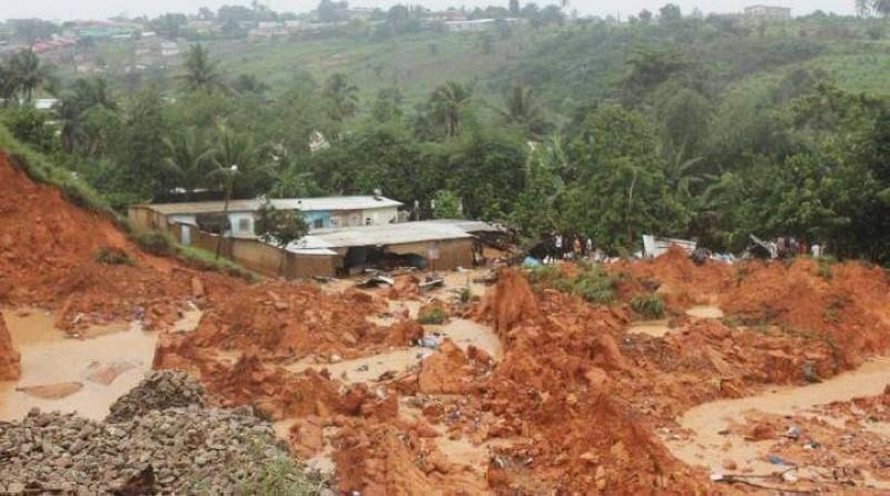 Une vue de l'éboulement de terrain à Anyama. (Dr)