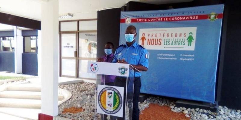 Le porte-parole de la Police nationale, le Commissaire principal Bleu Charlemagne, lors de son intervention. (AIP)