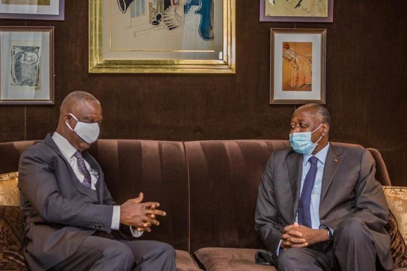 Le Premier ministre Amadou Gon Coulibaly et SEM Maurice Kouakou Bandaman