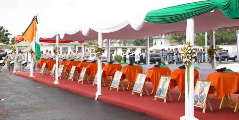 L'hommage à la nation des soldats tués à Kafolo. (DR)