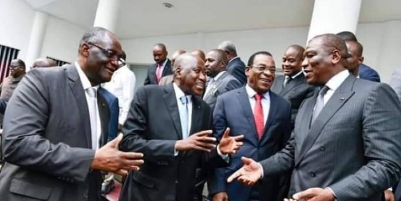 Amadou Gon Coulibaly et Affi N'Guesssan, au milieu, sortant d'une rencontre avec l'opposition. (Dr)