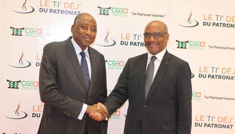 Le président de la CGECI (à droite) a présenté les condoléances du patronat à la Nation suite au décès du Premier ministre Amadou Gon Coulibaly. (CGECI)