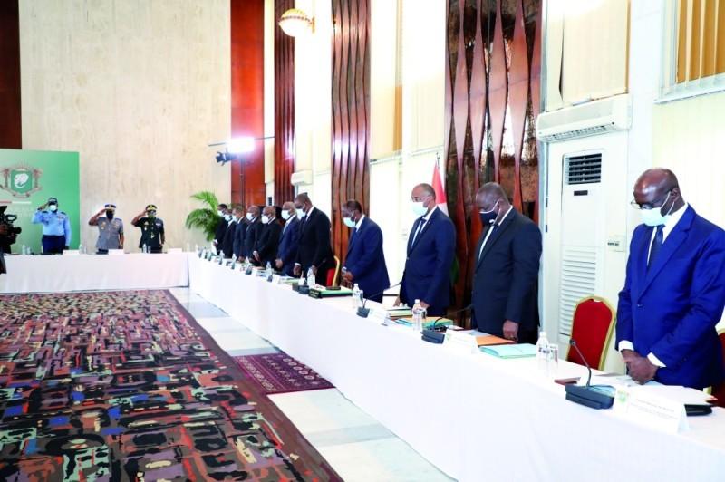 Le Conseil national de sécurité a observé une minute de silence pour saluer la mémoire du Premier ministre Amadou Gon Coulibaly au début de la réunion. (DR)