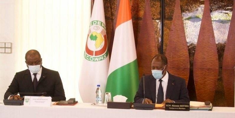 La réunion du Conseil national de sécurité présidée par le Chef de l'Etat, Alassane Ouattara. (DR)