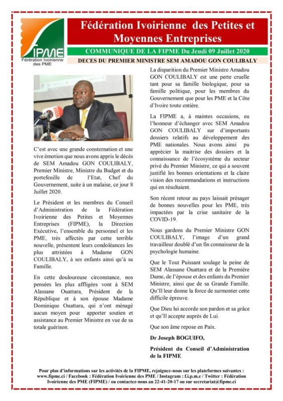 Communiqué de la FIPME  suite au décès du premier ministre SEM Amadou Gon COULIBALY