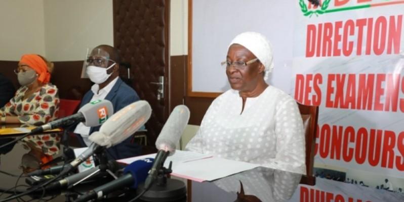 La directrice des examens et concours (Deco), Dosso Nimaga Mariam, lors des résultats du Bepc 2020. (DR)