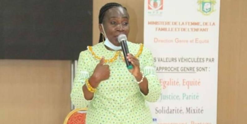 Mme Tanoh Florence, directrice de la promotion du genre et de l'équité, le mardi 28 juillet lors de son intervention à l'atelier. (DR)