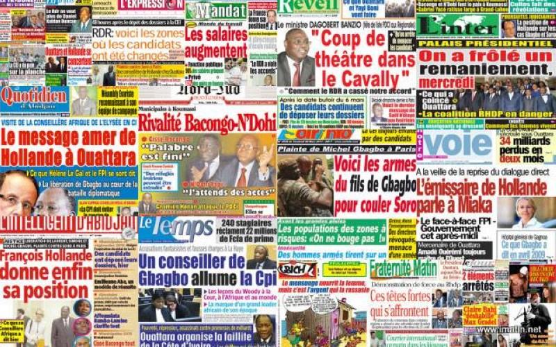 Des Unes de journaux ivoiriens. (DR)