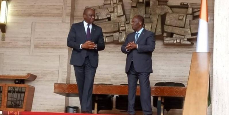 Hamed Bakayoko (à gauche) désormais confirmé comme le chef du gouvernement. (DR)
